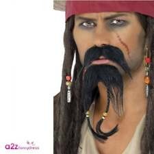 Pirate Facial Hair Set Moustache Goatee Beard - Mens Fancy Dress Accessory