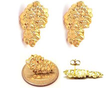 NEW MENS 18K YELLOW GOLD FINISH 925 STERLING SILVER NUGGET STUD EARRINGS