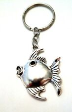 Angel Fish Key Chain - Large silver charm -only 5 avail. Us Seller Free Shipping