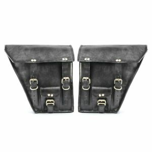 Pair Motorcycle Handmade 2 Saddlebags Swing Arm Luggage Black Real Leather Pouch