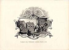 """Cartera Hogarth - """"Tiverton Escuela Fiesta billete 1740"""" - acero grabado (c.1860)"""