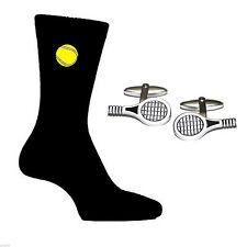 Tennis Racquet Design Cufflinks and Tennis Ball Socks Gift Set X6N116 - X2PSN012