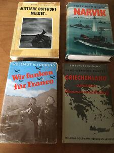 4 original Kriegsbücher, 2. Weltkrieg, vor 1945, Griechenland, Spanien, Norwegen