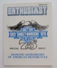 Harley Davidson Enthusiast Magazine Spring 1978 75th Anniversary