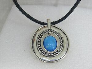 Premier Designs Silver plated Black Cord with Blue stone Enhancer Pendant neckla
