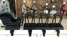 Pottery Barn SANTA'S SLEIGH Stocking Holder REINDEER Deer Bronze Decor Christmas