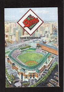 Baltimore Orioles--Camden Yards--1992 Pocket Schedule--Coke