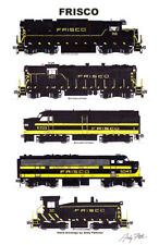 "Frisco 1960s Locomotives 11""x17"" Railroad Poster Andy Fletcher signed"