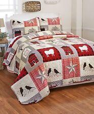 Oversized Full Queen Quilt & Pillow Sham Set Country Primitive Sheep Birds Star