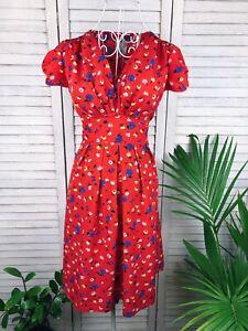 Hi There Karen Walker Floral Dress, Red, Size 6, S