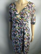 NEW WOMENS GIRLS  UK6-10 BLACK & PINK FLORAL WRAP TWIST DRESS