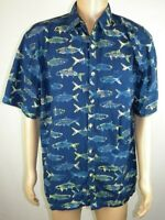 Clearwater Outfitters Navy Fish Print Short Sleeve Button Up Shirt Men's Sz XL Y