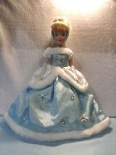 "Disney Cinderella 13"" Porcelain Posable Blonde, Blue Eyes Doll, Blue Gown"