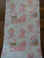 Vintage Wallpaper Roll Baby Girl Nursery Pink Poodle Bunny Lamb Kitten ADORABLE