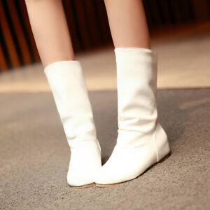 Lady Mid-Tube Boots Slouch Cycling Flat-Bottomed Chelsea Round Toe Slip-On Boots