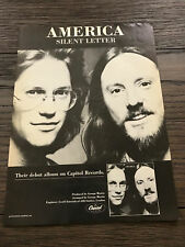 "1979 VINTAGE 8X11 PROMO PRINT Ad FOR ALBUM AMERICA ""SILENT LETTER"" GEORGE MARTIN"