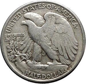 1943 WALKING LIBERTY Half Dollar Bald Eagle United States Silver Coin i44691