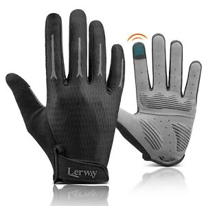 Lerway Touchscreen Cycling Gloves Full Finger Sports Mitts Bicycle Riding Unisex
