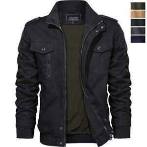 Men's Military Bomber Jacket Pilot Biker Army Combat Casual Cotton Coat Outwear