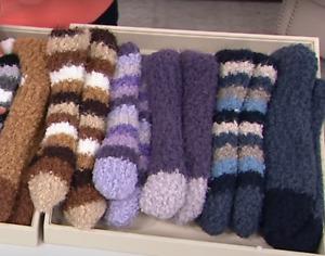MUK LUKS Novelty Yarn Ankle Cabin Socks Set of 2 - Amethyst - Select X/S or L/XL