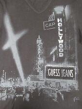 GUESS JEANS - PHOTO OF HOLLYWOOD - V-NECK - MEDIUM - BLACK T-SHIRT- H1141
