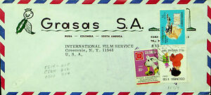 COLOMBIA 1970 CHRISTMAS EUCHARISTIC CONGRESS 3v COVER TO INT'L FILM SERVICE USA