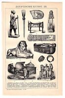 ca 1890 EGYPTIAN ART, EGYPTIAN CULTURE,  SPHINX Antique Engraving Print