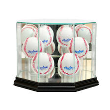 Glass Octagon 6 Baseball Display Case Uv Protection Black Wood