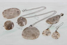 FOSSIL CORAL NECKLACE 2 PENDANT BROOCH WIRE & CLIP ON EARRINGS JEWELRY SET 3598