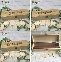 Wooden Rustic Wedding Wish Box Guest Book Alternative Drop in Heart Box LB1