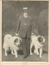 Pyrenean Mountain Dogs & Sir Cato Worsfold, vintage print authentic 1935