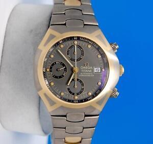 Mens Omega Seamaster Polaris 18K Gold Titanium Automatic Chronograph watch RARE