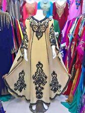 Dubái Beige Marroquí Caftán Georgette Vestido Jilbāb Árabe Ropa Ms 304
