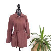 Soho Women's Size 12 Brown Lightweight Full Zip Trench Jacket Coat