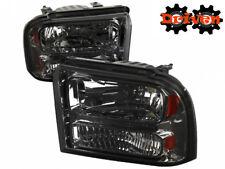 99-04 Ford F250 F350 Super Duty Smoked Housing 1PC Headlights w/Amber Reflector