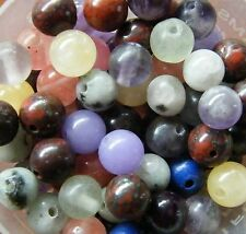 50pcs 6mm Round Gemstone Beads - Mixed Assortment of Natural and Dyed