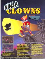 NINJA CLOWNS By STRATA 1991 ORIGINAL NOS VIDEO ARCADE GAME PROMO SALES FLYER