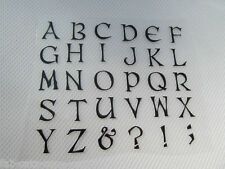 BLACK CLASSIC LETTER ALPHABET GLITTER IRON ON SMOOTH PATCH FOR CLOTHES UK SELLER