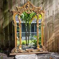"Gorgeous Large Antique 46"" Gilt Wood Gilded Mirror in the Baroque Style Gold"