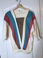 Vintage Retro 90s Long Sleeved Top White Blue And Pink Medium