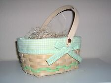 Spring Basket Unstained Green Checked Gingham Cloth Liner Easter Baby