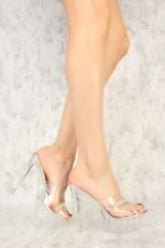 Stripper Exotic Dancer Slip On Lucite Clear High Stilettos Heels Platform H194