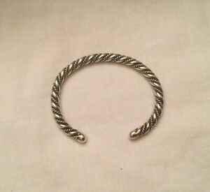Vintage Navajo Sterling Silver Twisted Rope Cuff Bracelet  21.6 grams