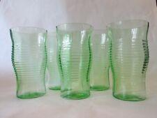 SET 5 FLAT TUMBLERS! Vintage HOCKING GLASS depression GREEN CIRCLE pattern EXC
