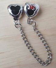 Disney Minnie Mickey Mouse Heart Safety Chain fit European Bead Charm Bracelets