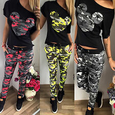Damen Tarnung Mickey Aufdruck Sport Trainingsanzug Set T-Shirt Oberteile Hosen