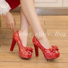 Women's Block Heels New Peep Toe Wedding Pumps Court Shoes Lace Platform Slip On