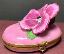 "Limoges France Peint Main Pansy Porcelain Trinket Box Vintage ""As Is�"