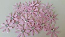 20 Light Pink Flowers Die Cut Embellishments with Silver Rhinestones