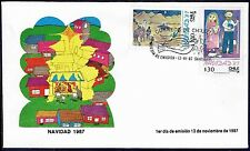CHILE FDC COVER 1987 #1269/70 CHRISTMAS CHILD PAINTINGS